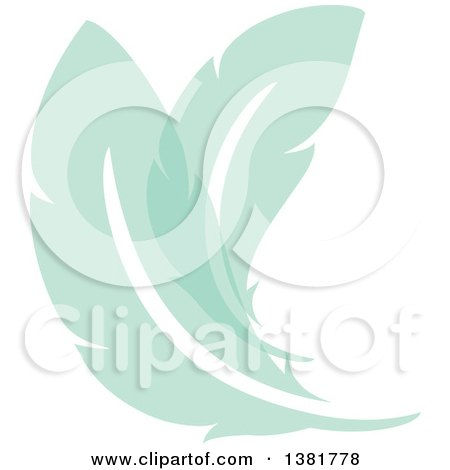 Clipart of Flat Design Green Feather Plumes - Royalty Free Vector Illustration by elena