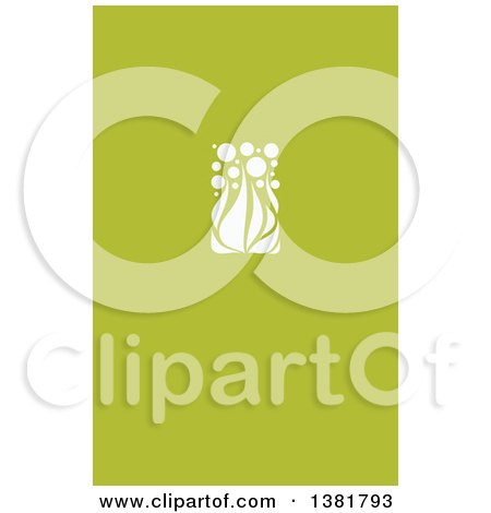 Clipart of a Flat Design White Allium Floral Wedding Design on Green - Royalty Free Vector Illustration by elena
