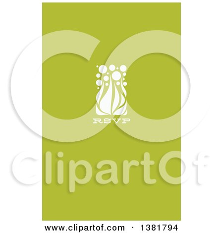 Clipart of a Flat Design White Allium Floral RSVP Wedding Design on Green - Royalty Free Vector Illustration by elena