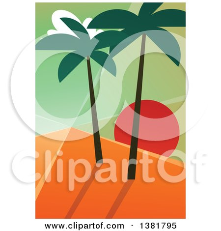 Clipart Of A Geometric Travel Background Of An Island Sunset With Palm Trees Royalty Free Vector Illustration