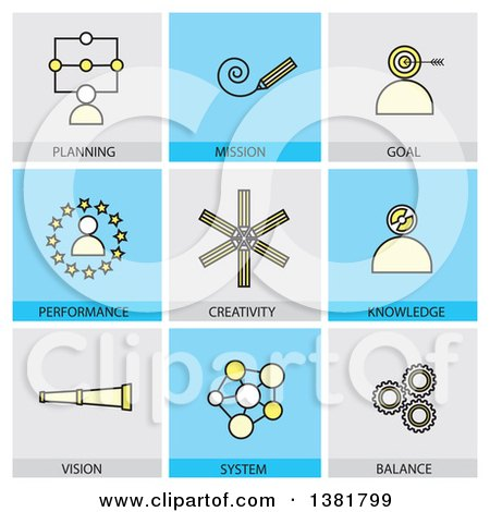 Clipart of Icons with Text - Royalty Free Vector Illustration by ColorMagic