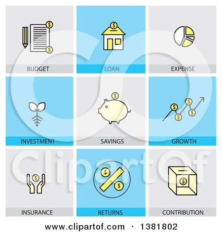 Clipart of Financial Icons with Text - Royalty Free Vector Illustration by ColorMagic