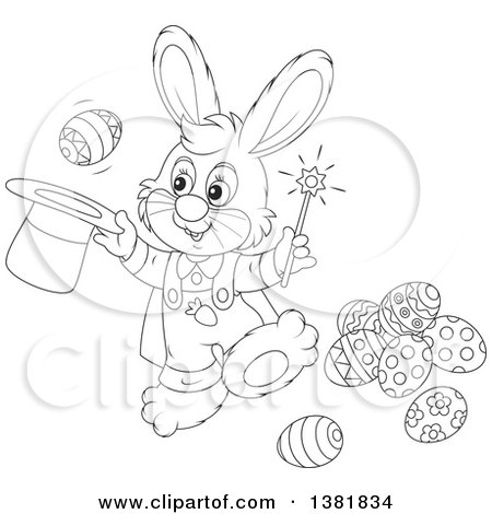 Clipart of a Cartoon Black and White Bunny Rabbit Magician Performing a Trick with Easter Eggs - Royalty Free Vector Illustration by Alex Bannykh