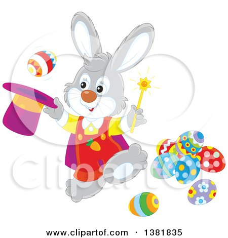 Clipart of a Gray Rabbit Magician Performing a Trick with Easter Eggs - Royalty Free Vector Illustration by Alex Bannykh