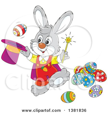 Clipart of a Cartoon Gray Bunny Rabbit Magician Performing a Trick with Easter Eggs - Royalty Free Vector Illustration by Alex Bannykh