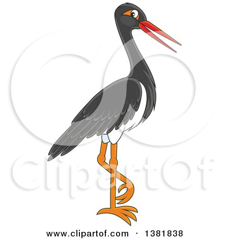 Clipart of a Black Stork Bird - Royalty Free Vector Illustration by Alex Bannykh
