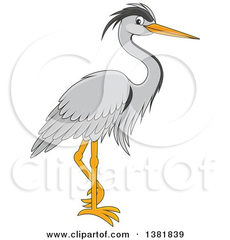Clipart of a Cartoon Grey Heron Bird - Royalty Free Vector Illustration by Alex Bannykh