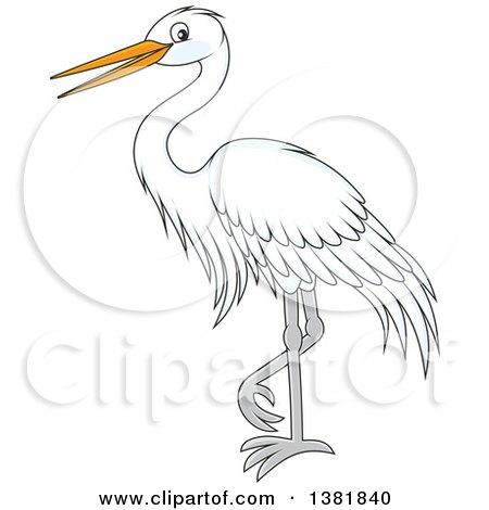 Clipart of a Cartoon White Egret Bird - Royalty Free Vector Illustration by Alex Bannykh