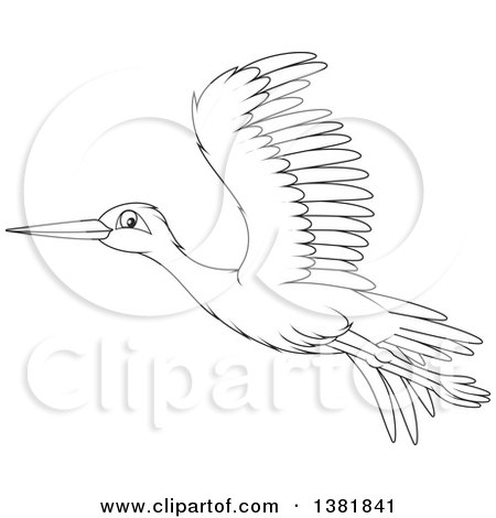 Clipart of a Cartoon Black and White Flying Stork Bird - Royalty Free Vector Illustration by Alex Bannykh
