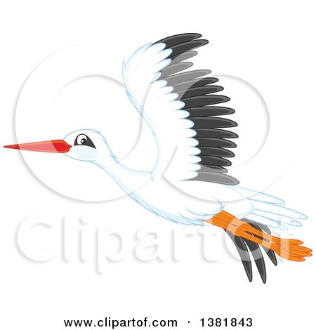 Clipart of a Flying Stork Bird - Royalty Free Vector Illustration by Alex Bannykh