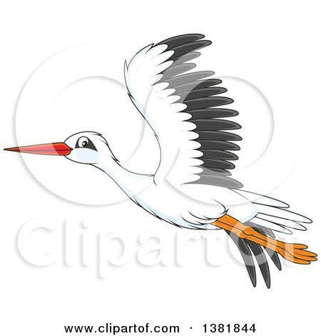 Clipart of a Cartoon Flying Stork Bird - Royalty Free Vector Illustration by Alex Bannykh