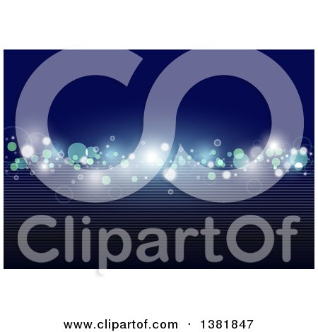 Clipart of a Blue Background with Sparkling Lights and Lines - Royalty Free Vector Illustration by dero