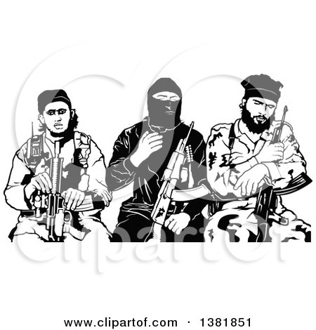 Clipart of a Black and White Group of Male Terrorists Sitting with Rifles - Royalty Free Vector Illustration by dero