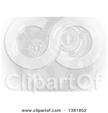 Clipart of a Grayscale Network of People Socializing Through a Global Connection over a Map - Royalty Free Vector Illustration by dero
