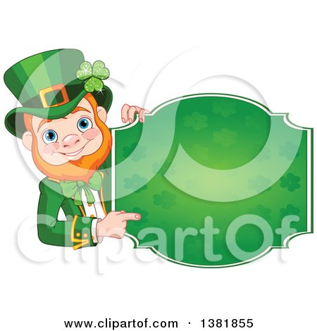 Clipart of a Happy St Patricks Day Leprechaun Pointing Around a Green Shamrock Sign - Royalty Free Vector Illustration by Pushkin