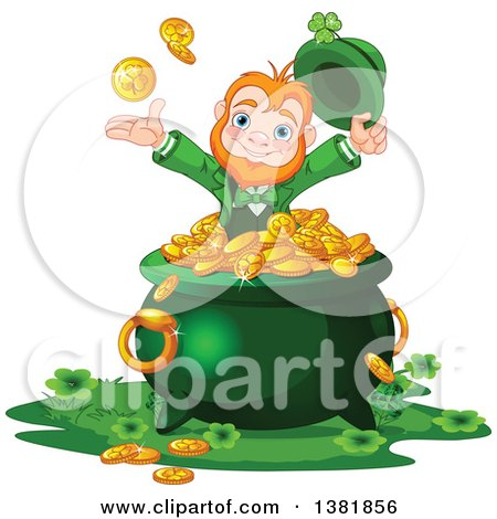 Clipart of a Happy St Patricks Day Leprechaun Tossing up Rounds over a Pot of Gold - Royalty Free Vector Illustration by Pushkin