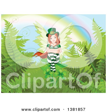 Clipart of a Female Red Haired St Patricks Day Leprechaun Fairy Sitting on Shamrocks and Ferns at the End of a Rainbow - Royalty Free Vector Illustration by Pushkin