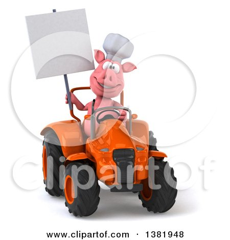 Clipart of a 3d Chef Pig Operating a Tractor, on a White Background - Royalty Free Illustration by Julos