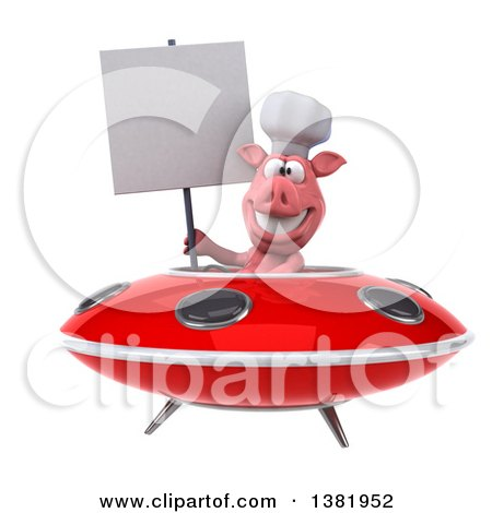 Clipart of a 3d Chef Pig Flying a Ufo, on a White Background - Royalty Free Illustration by Julos