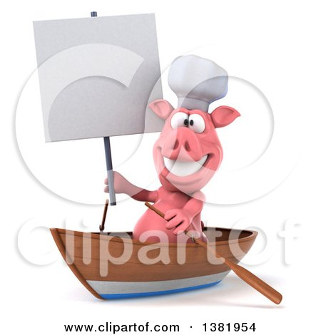 Clipart of a 3d Chef Pig Rowing a Boat, on a White Background - Royalty Free Illustration by Julos