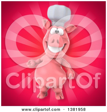 Clipart of a 3d Chef Pig over Rays - Royalty Free Illustration by Julos