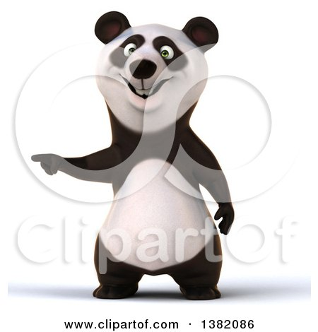 Clipart of a 3d Panda, on a White Background - Royalty Free Illustration by Julos