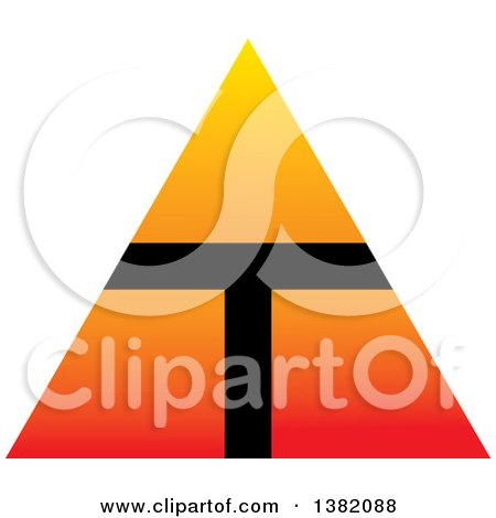 Clipart of a Gradient Orange Pyramid with a T - Royalty Free Vector Illustration by ColorMagic