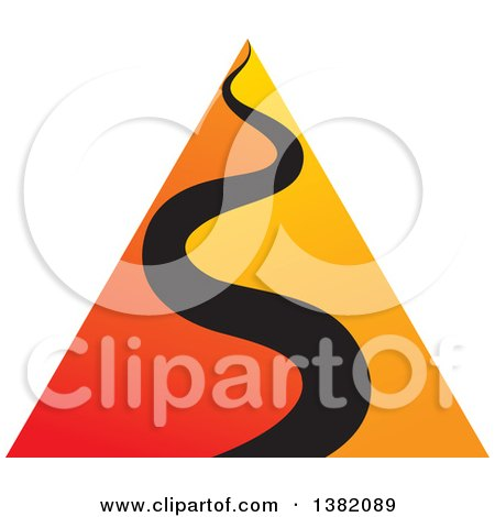 Clipart of a Gradient Orange Pyramid with Black Wavy Line - Royalty Free Vector Illustration by ColorMagic