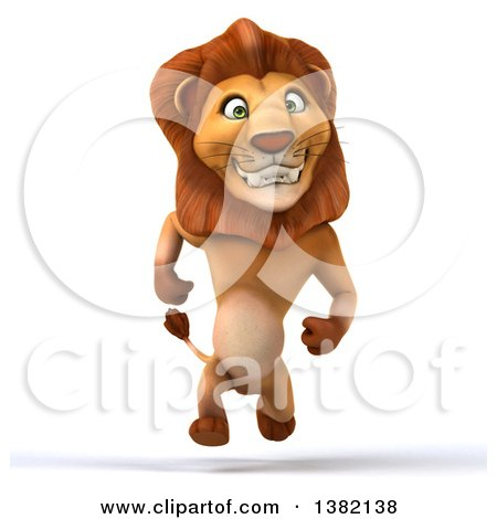 Clipart of a 3d Male Lion, on a White Background - Royalty Free Illustration by Julos