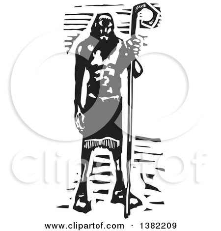 Clipart of a Black and White Woodcut Cyclopes Polyphemus from Homers Odyssey, Greek Mythology - Royalty Free Vector Illustration by xunantunich