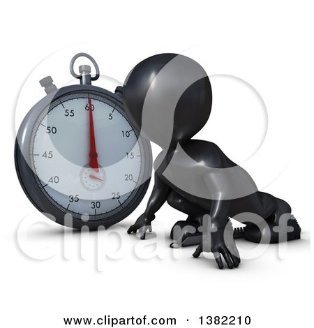 Clipart of a 3d Black Man Runner on Starting Blocks by a Giant Stop Watch, on a White Background - Royalty Free Illustration by KJ Pargeter