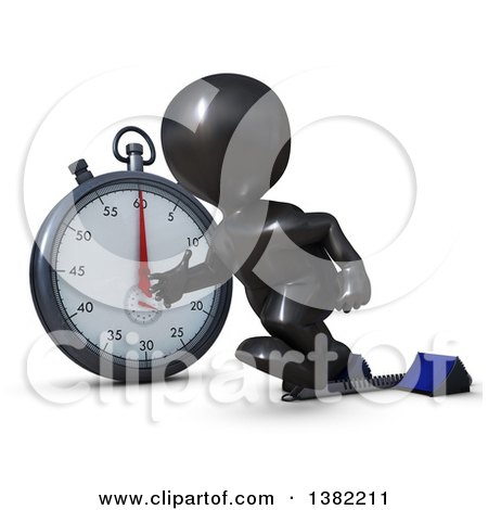 Clipart of a 3d Black Man Runner Taking off on Starting Blocks by a Giant Stop Watch, on a White Background - Royalty Free Illustration by KJ Pargeter
