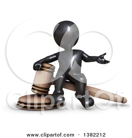 Clipart of a 3d Black Man Auctioneer or Judge Sitting on a Giant Gavel, on a White Background - Royalty Free Illustration by KJ Pargeter