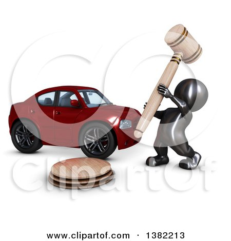 Clipart of a 3d Black Man Auctioneer Banging a Gavel by a Car, on a White Background - Royalty Free Illustration by KJ Pargeter