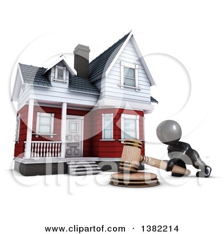Clipart of a 3d Black Man Auctioneer Banging a Gavel in Front of a Home, on a White Background - Royalty Free Illustration by KJ Pargeter