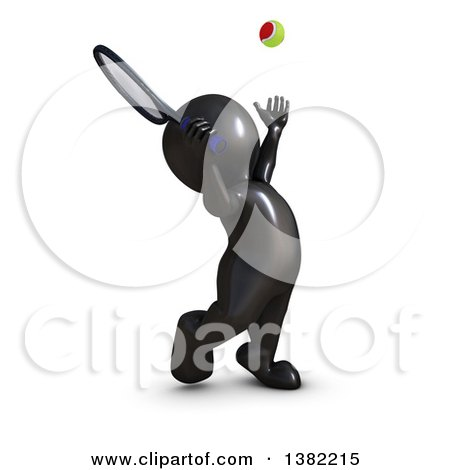 Clipart of a 3d Black Man Playing Tennis, on a White Background - Royalty Free Illustration by KJ Pargeter