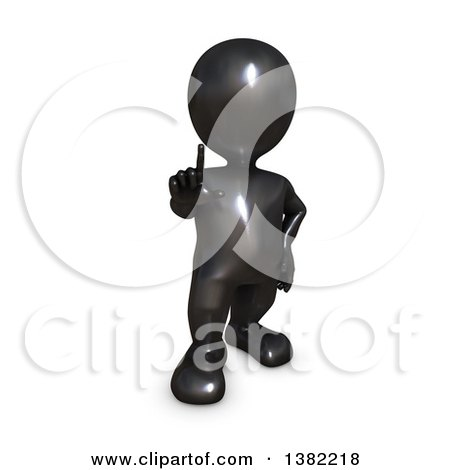 Clipart of a 3d Black Man Holding up a Finger, on a White Background - Royalty Free Illustration by KJ Pargeter