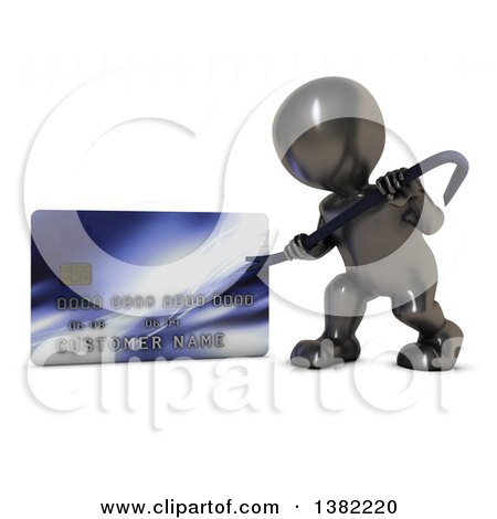 Clipart of a 3d Black Man Using a Pry Bar to Hack into a Credit Card Account, on a White Background - Royalty Free Illustration by KJ Pargeter