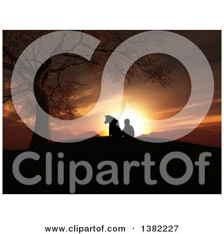 Clipart of a 3d Silhouetted Boy and His Dog Sitting by a Tree on a Hill and Watching a Sunset - Royalty Free Illustration by KJ Pargeter