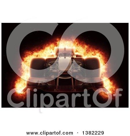 Clipart of a 3d Race Car with a Fiery Effect, on Black - Royalty Free Illustration by KJ Pargeter