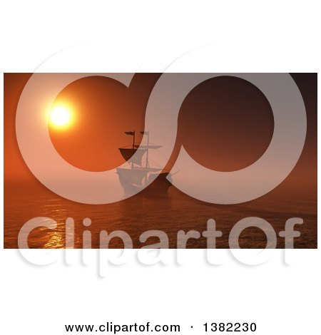 Clipart of a 3d Ship Sailing Against an Orange Ocean Sunset - Royalty Free Illustration by KJ Pargeter