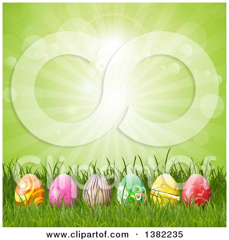 Clipart of a Row of 3d Easter Eggs in Grass Against a Green Sunburst - Royalty Free Vector Illustration by KJ Pargeter