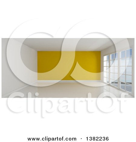 Clipart of a 3d Empty Room Interior with Floor to Ceiling Windows, White Flooring, and a Yellow Feature Wall - Royalty Free Illustration by KJ Pargeter