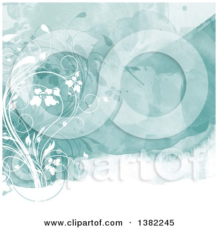 Clipart of a Watercolor Background with Floral Vines - Royalty Free Vector Illustration by KJ Pargeter