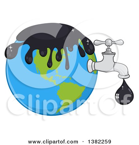 Clipart of a Cartoon Oil Drop Leaking from a Faucet from Planet Earth - Royalty Free Vector Illustration by Hit Toon