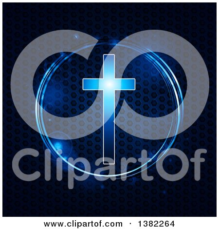 Clipart of a Glowing Blue Cross in a Circle over Metallic Honeycomb Texture - Royalty Free Vector Illustration by elaineitalia