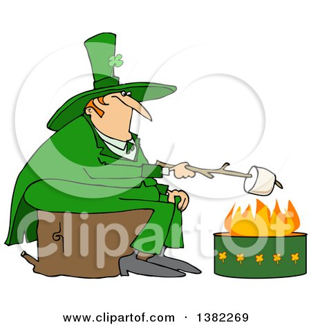 Clipart of a Chubby St Patricks Day Leprechaun Sitting on a Stump and Roasting a Marshmallow over a Fire Pit - Royalty Free Vector Illustration by djart