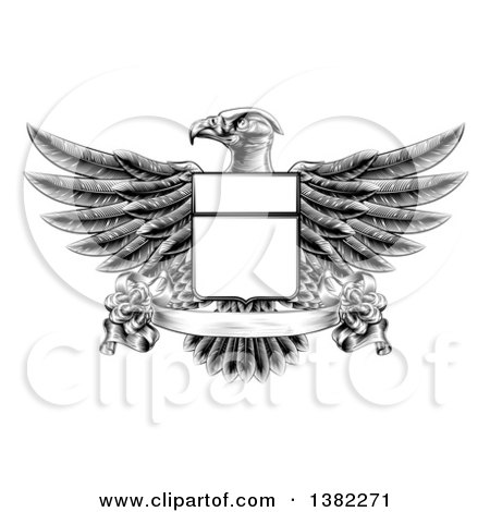 Clipart of a Black and White Engraved or Woodcut Heraldic Coat of Arms American Bald Eagle with a Shield and Blank Banner - Royalty Free Vector Illustration by AtStockIllustration