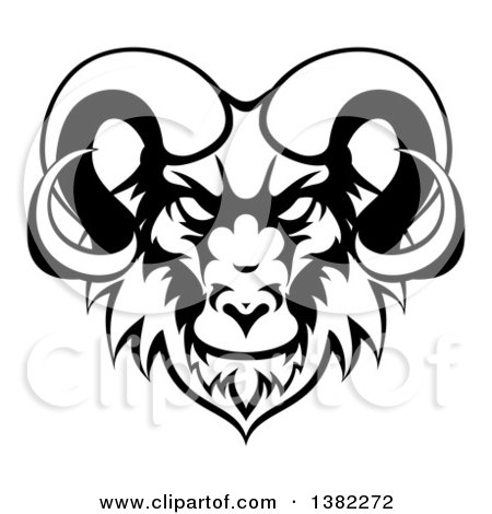Clipart Of A Black And White Ram Head Mascot Royalty Free Vector Illustration