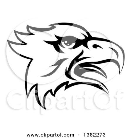 Clipart of a Black and White Screeching Bald Eagle Mascot Head - Royalty Free Vector Illustration by AtStockIllustration